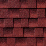 Close up photo of GAF's Timberline HD Patriot Red shingle swatch